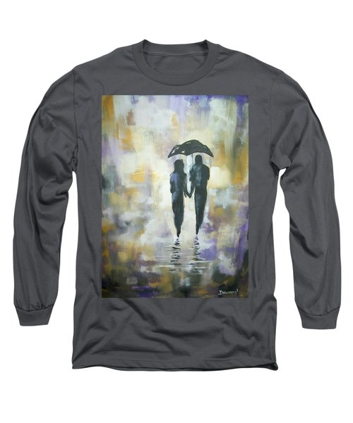 Long Sleeve T-Shirt featuring the painting Walk In The Rain #3 by Raymond Doward