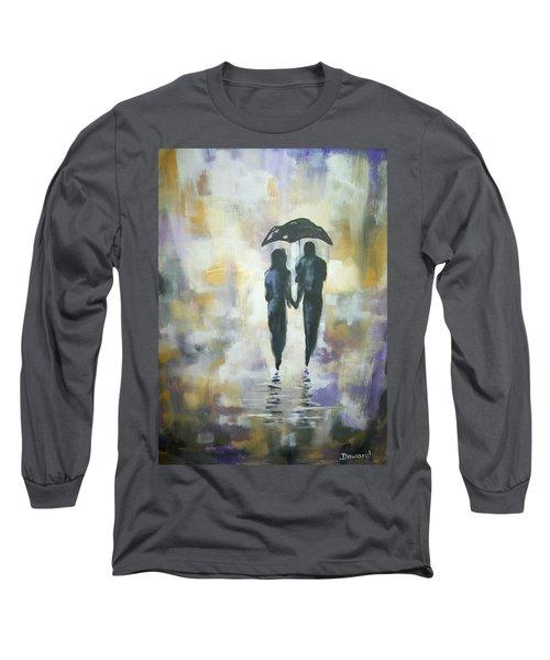 Walk In The Rain #3 Long Sleeve T-Shirt by Raymond Doward