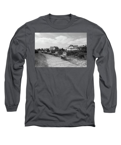 Walk Through The Dunes In Black And White Long Sleeve T-Shirt