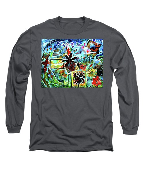 Long Sleeve T-Shirt featuring the mixed media Walking Amongst The Monarchs by Genevieve Esson