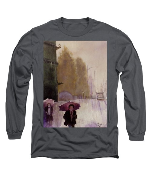 Long Sleeve T-Shirt featuring the painting Walking In The Rain by Dan Wagner