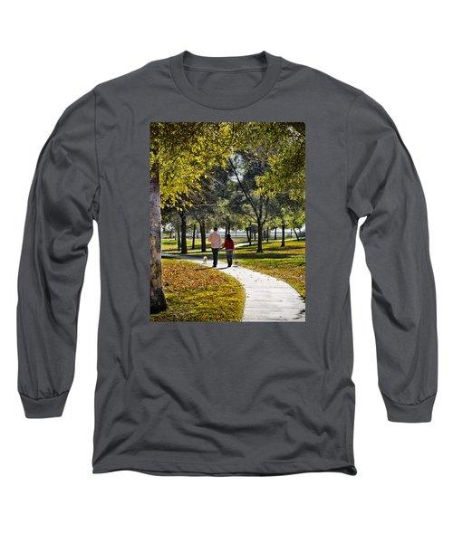 Walking Park Long Sleeve T-Shirt by John Swartz