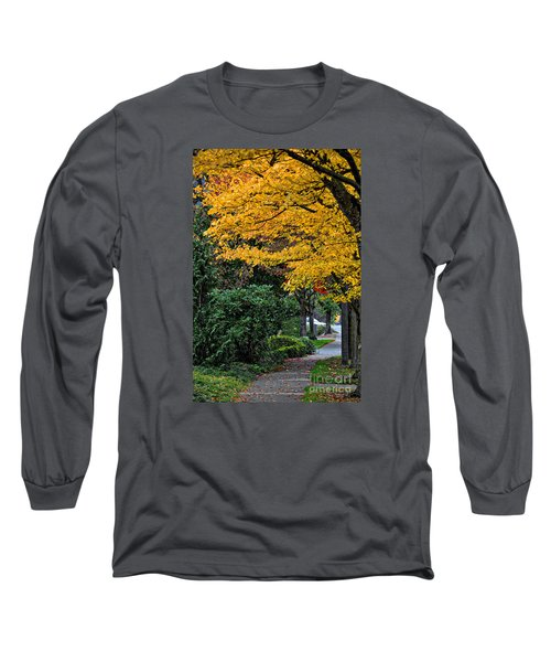 Walkway Under A Canopy Of Yellow Long Sleeve T-Shirt by Kirt Tisdale