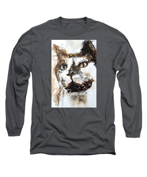 Walnut And Charcoal Long Sleeve T-Shirt by Mary Schiros