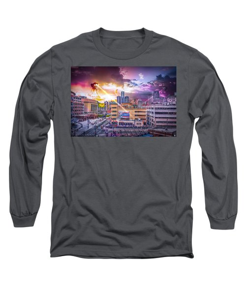 Long Sleeve T-Shirt featuring the photograph War Of The Worlds Detroit By Nicholas Grunas by Nicholas  Grunas