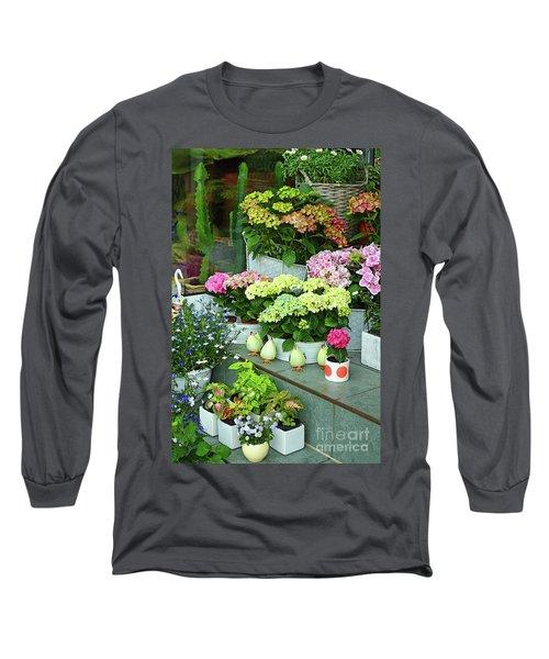 Warnemunde Flower Shop Long Sleeve T-Shirt by Eva Kaufman