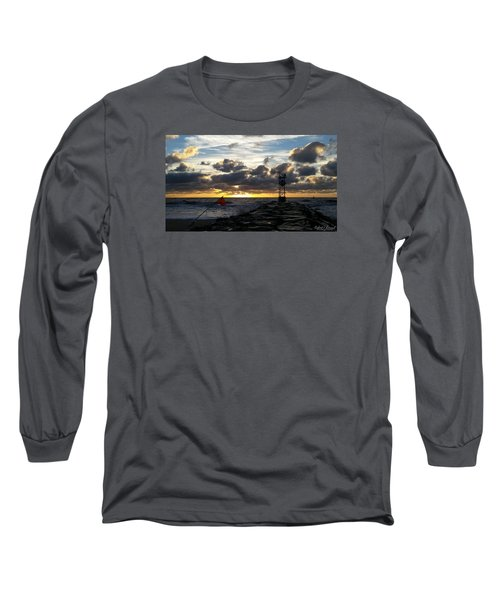 Warning Flag At Sunrise Long Sleeve T-Shirt by Robert Banach