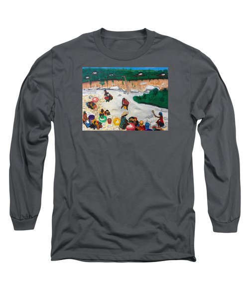 Long Sleeve T-Shirt featuring the painting Washing Clothes By The Riverside In Haiti by Nicole Jean-Louis