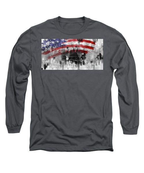 Long Sleeve T-Shirt featuring the painting Washington Dc Building 01a by Gull G