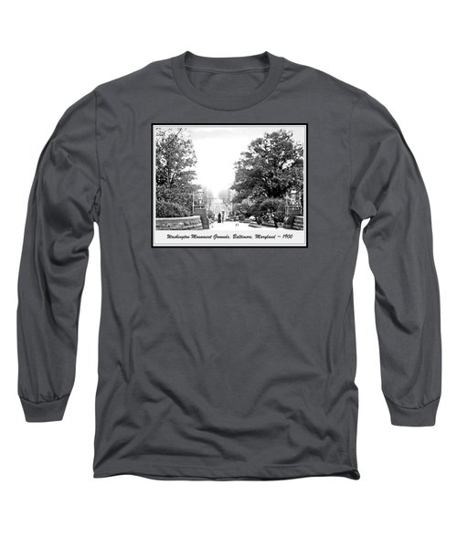 Long Sleeve T-Shirt featuring the photograph Washington Monument Grounds Baltimore 1900 Vintage Photograph by A Gurmankin