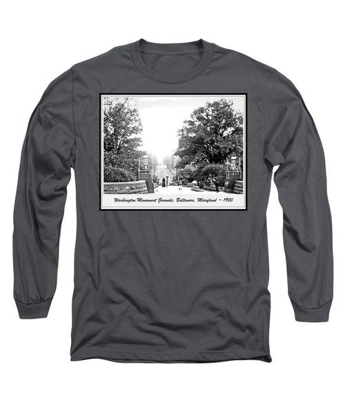Washington Monument Grounds Baltimore 1900 Vintage Photograph Long Sleeve T-Shirt