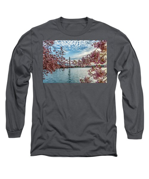 Washington Monument Through Cherry Blossoms Long Sleeve T-Shirt