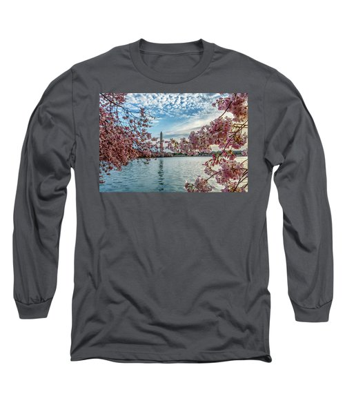 Washington Monument Through Cherry Blossoms Long Sleeve T-Shirt