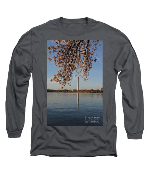 Washington Monument With Cherry Blossoms Long Sleeve T-Shirt by Megan Cohen