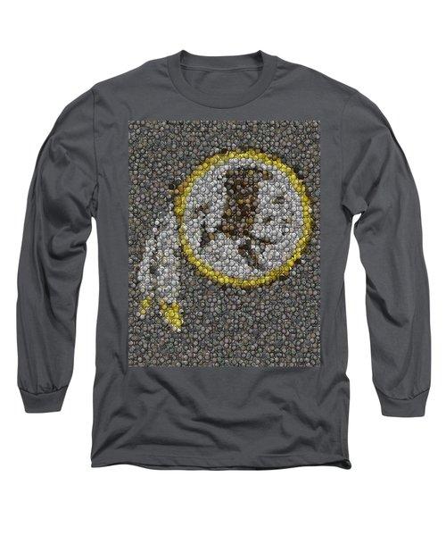 Long Sleeve T-Shirt featuring the mixed media Washington Redskins Coins Mosaic by Paul Van Scott