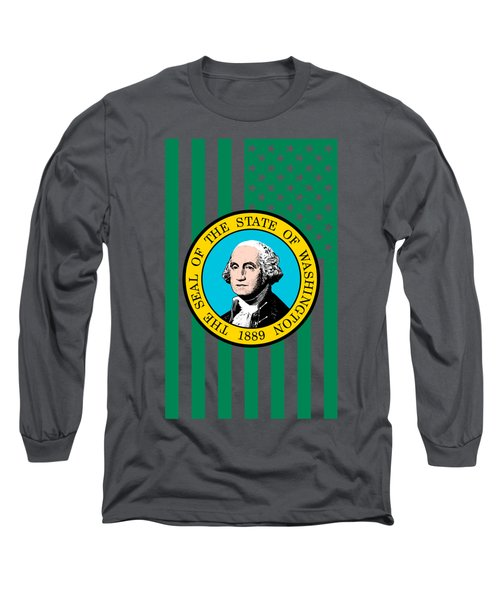 Washington State Flag Graphic Usa Styling Long Sleeve T-Shirt