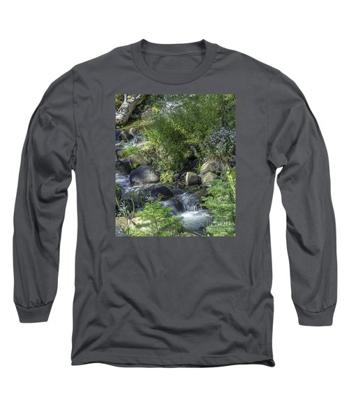 Long Sleeve T-Shirt featuring the photograph Water And Wildflowers by Nancy Marie Ricketts