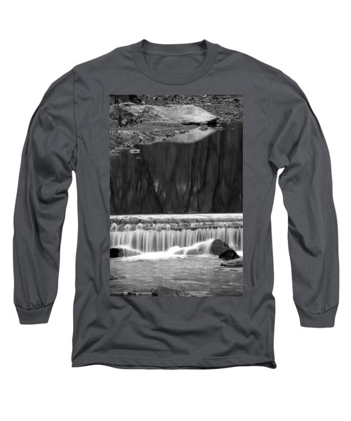 Water Fall And Reflexions Long Sleeve T-Shirt by Dorin Adrian Berbier