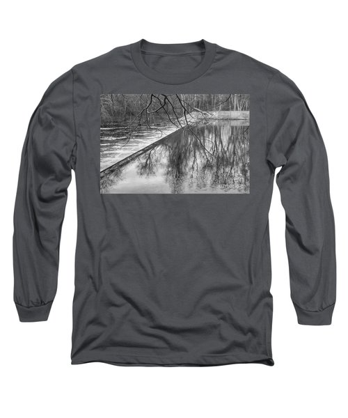 Water Flowing Over Dam In Wayne New Jersey Long Sleeve T-Shirt