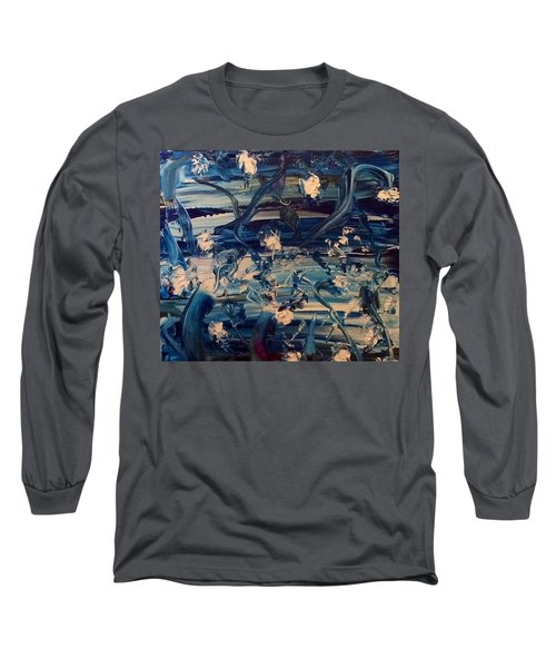 Long Sleeve T-Shirt featuring the painting Water Garden Beyond Flight by Kicking Bear Productions