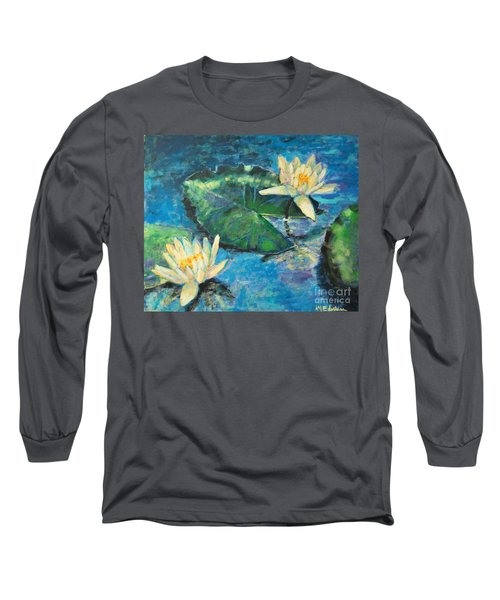 Long Sleeve T-Shirt featuring the painting Water Lilies by Ana Maria Edulescu