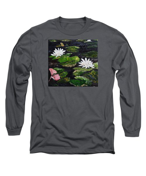 Water Lilies I Long Sleeve T-Shirt by Marilyn Zalatan