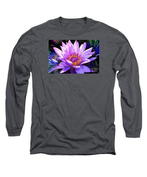 Water Lily In Purple Long Sleeve T-Shirt by Jeannie Rhode