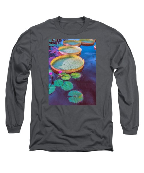 Water Lily Pattern Long Sleeve T-Shirt by John Rivera