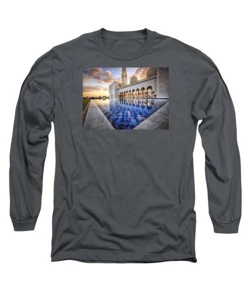 Long Sleeve T-Shirt featuring the photograph Water Sunset Temple by John Swartz
