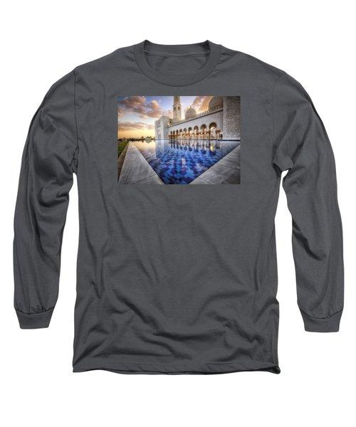 Water Sunset Temple Long Sleeve T-Shirt by John Swartz