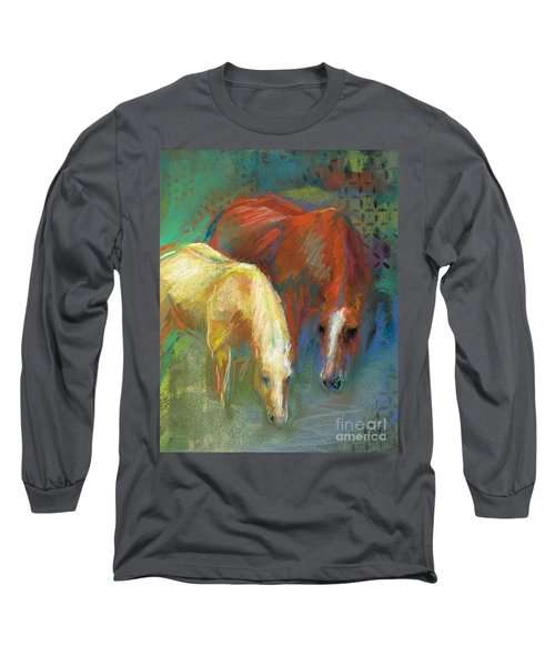 Long Sleeve T-Shirt featuring the painting Waterbreak by Frances Marino