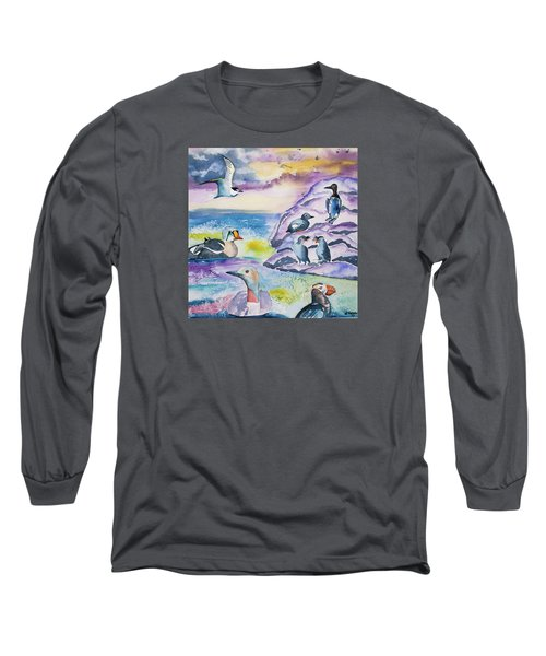 Watercolor - Alaska Seabird Gathering Long Sleeve T-Shirt