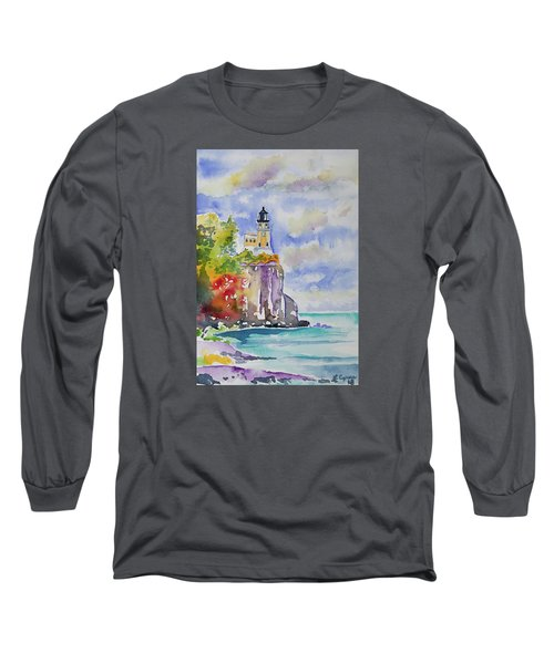 Watercolor - Autumn At Split Rock Lighthouse Long Sleeve T-Shirt
