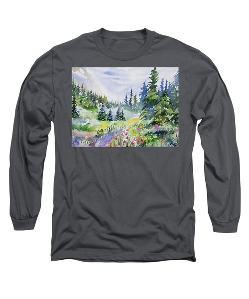 Watercolor - Colorado Summer Scene Long Sleeve T-Shirt