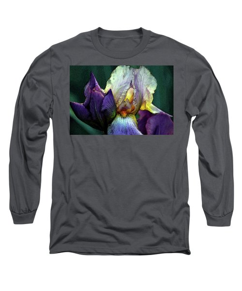 Watercolor Cream And Purple Bearded Iris With Bud 0065 W_2 Long Sleeve T-Shirt