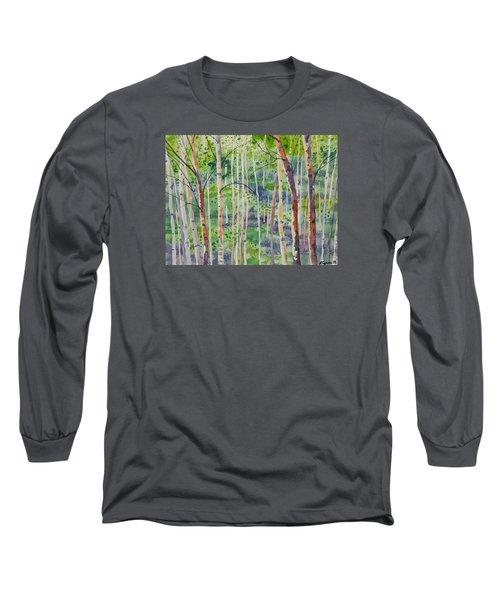 Watercolor - Magical Aspen Forest After A Spring Rain Long Sleeve T-Shirt