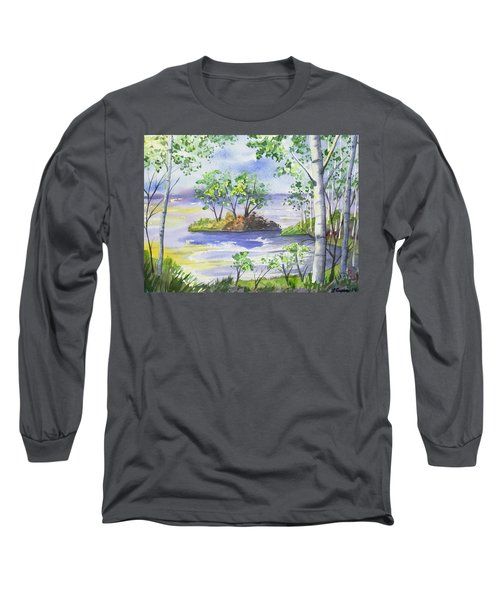 Watercolor - Minnesota North Shore Landscape Long Sleeve T-Shirt