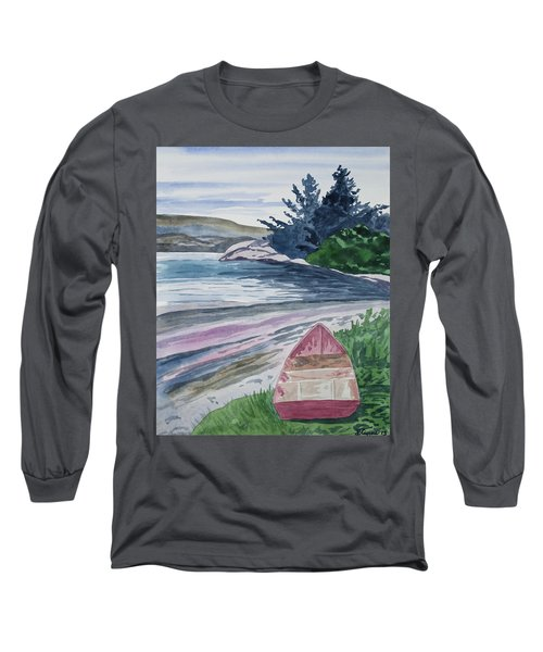 Watercolor - New Zealand Harbor Long Sleeve T-Shirt