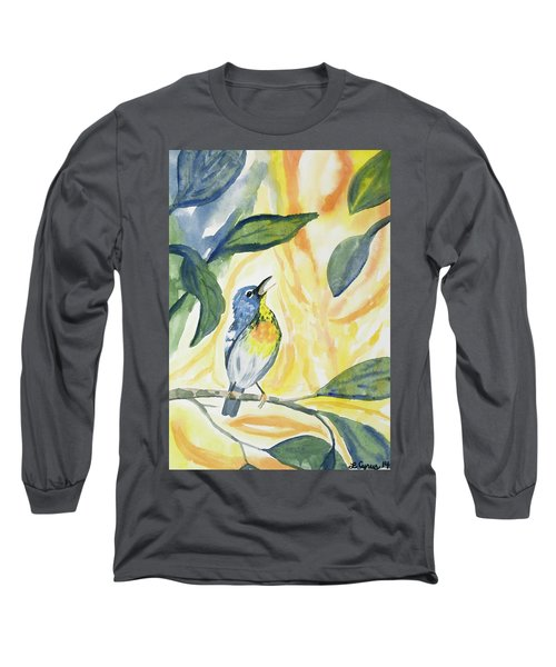 Watercolor - Northern Parula In Song Long Sleeve T-Shirt