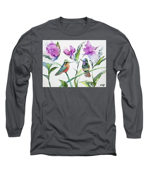 Watercolor - Purple-throated Mountain Gems And Flowers Long Sleeve T-Shirt