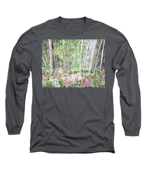 Watercolor - Summer Aspen Glade Long Sleeve T-Shirt