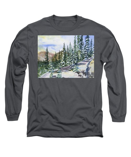 Watercolor - Winter Snow-covered Landscape Long Sleeve T-Shirt