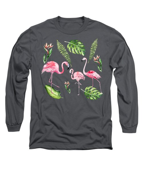 Watercolour Flamingo Family Long Sleeve T-Shirt