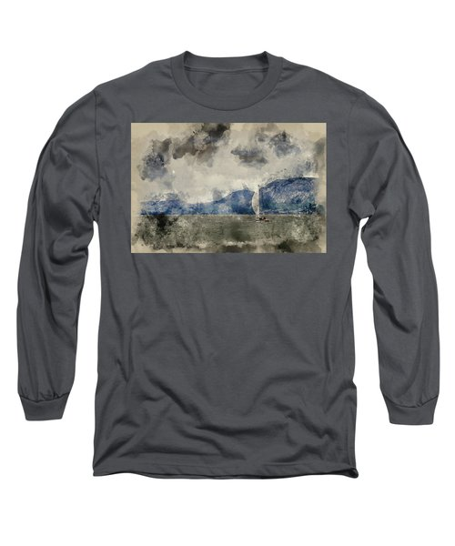 Watercolour Painting Of Small Sailing Boat On Menai Straits In Anglesey Wales. Long Sleeve T-Shirt