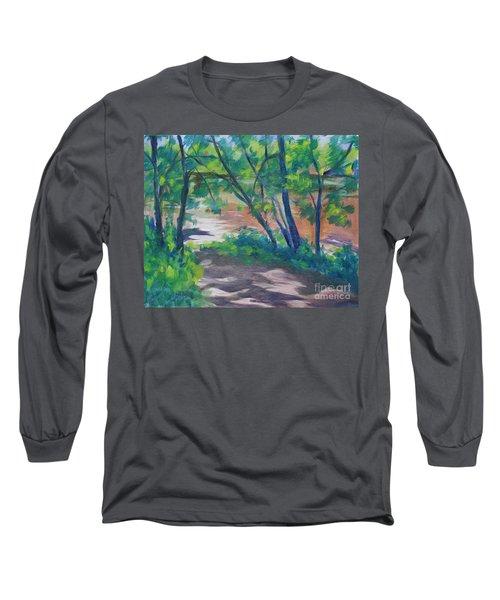 Watercress Beach On The Current River   Long Sleeve T-Shirt by Jan Bennicoff