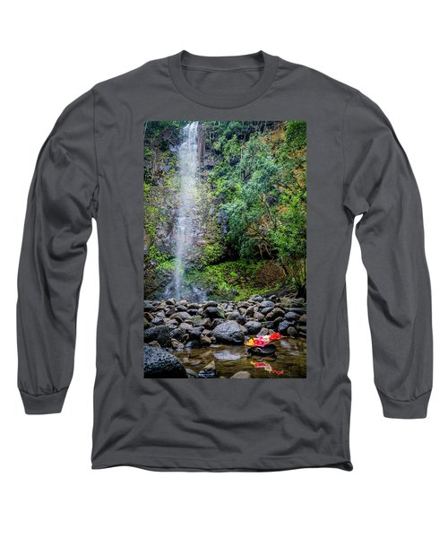 Waterfall And Flowers Long Sleeve T-Shirt