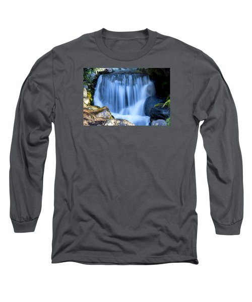 Waterfall At Dow Gardens, Midland Michigan Long Sleeve T-Shirt by Pat Cook