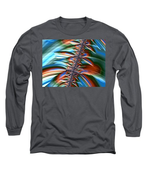 Waterfall Fractal 2 Long Sleeve T-Shirt by Bonnie Bruno