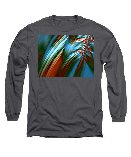 Waterfall Fractal Long Sleeve T-Shirt by Bonnie Bruno