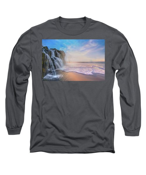 Waterfalls Into The Ocean Long Sleeve T-Shirt